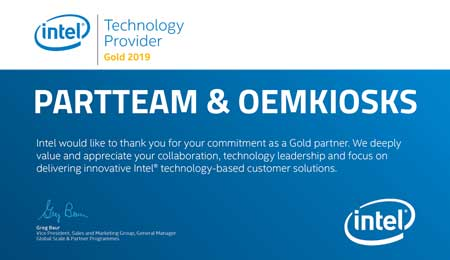 PARTTEAM & OEMKIOSKS receives certificate INTEL – Technology Provider Gold 2019
