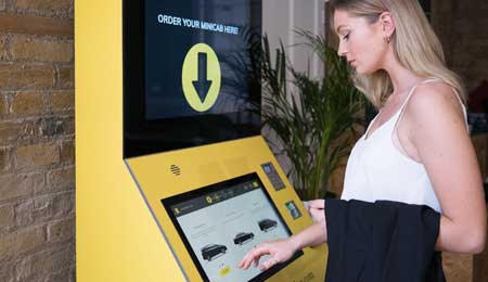 Multimedia kiosks to request a taxi