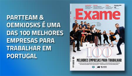 PARTTEAM & OEMKIOSKS É UMA DAS 100 MELHORES EMPRESAS PARA TRABALHAR EM PORTUGAL