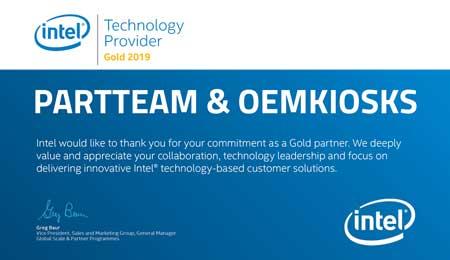 PARTTEAM & OEMKIOSKS RECEBE CERTIFICADO INTEL – TECHNOLOGY PROVIDER GOLD 2019